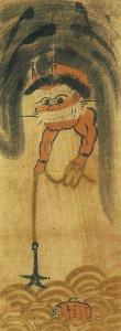 大津絵「鬼の太鼓釣り」